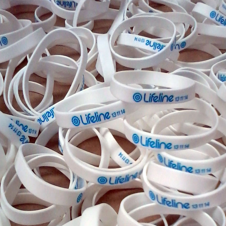Pad print on silicone wristbands